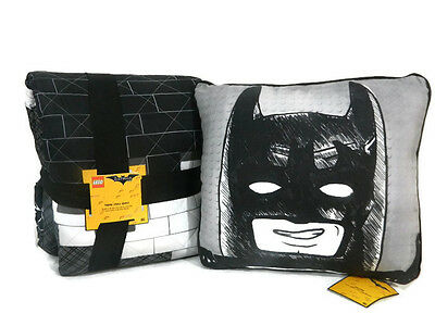 Lego Batman Movie Quilt Twin Full and Throw Pillow Kids Black White