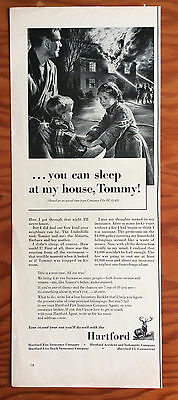 """1953 HARTFORD INSURANCE COMPANY Print Ad, """"...you can sleep at my house, Tommy!"""""""