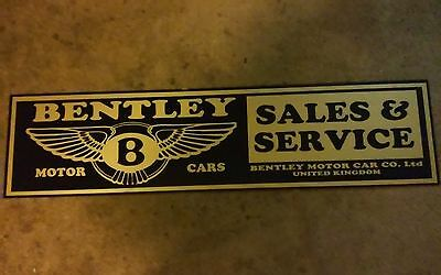 "Bentley Motor Cars Sales & Service Automotive United Kingdom Metal Sign 48"" x12"""