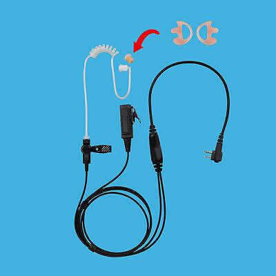 2 Unit Restaurant Medical D-Shape Radio Earpiece PTT for EHM15 Hytera TC-518