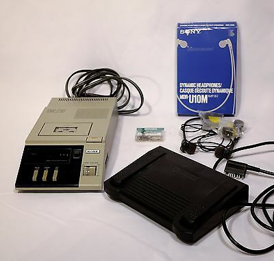 SONY BM-715 MICRO-CASSETTE TRANSCRIBER C/W Foot Pedal, Ear Phone and Cassette