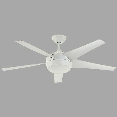 52 in. Matte White Ceiling Fan Light Kit Remote Control Energy Star Contemporary