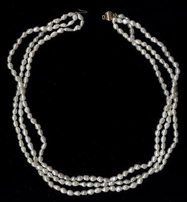 "14K 29.25 Gram Solid Yellow Gold 17"" 3 Strand White Rice Pearl Necklace Lot Oj"