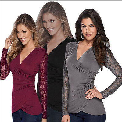 UK Womens Lace Long Sleeve V Neck Bodycon T-Shirt Ladies Casual Frill Tops Blous