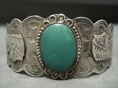 Early 1900's Vintage Navajo Cerrillos Turquoise 'indian Head' Bracelet