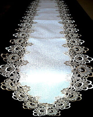 Long Handmade Thick Lace Table Runner Vintage Brown and White 42cm x 180cm