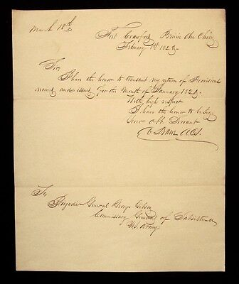 Org 1828 FORT CRAWFORD Prairie Du Chien WI Wisconsin Territory U.S. ARMY LETTER