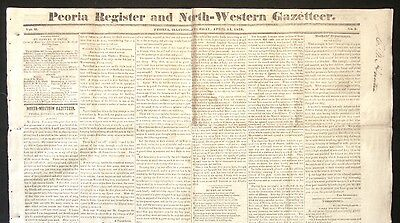 RARE 1838 RACINE WI Wisconsin Territory EARLY ARTICLE Peoria IL Newspaper
