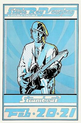 Stevie Ray Vaughan & Double Trouble POSTER 1981 SRV Austin Texas Rare Large