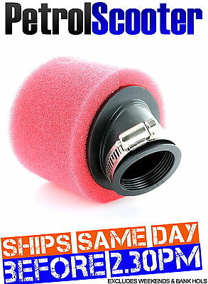 Pit Bike Fast Air FOAM AIR FILTER 38mm Red Sponge Bent Neck Fits 110cc 125cc M2R