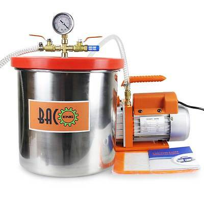 BACOENG 3 Gallon Vacuum Chamber Kit with 3.0 CFM Single Stage Vacuum Pump HVAC