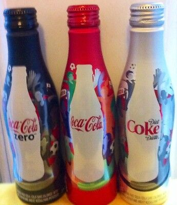 Coca Cola Fifa World Women Cup 2015 Set Of 3 Opened Aluminum Bottel Quebec Rare