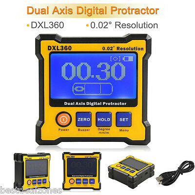DXL360 Digital LCD Protractor Inclinometer Dual Axis Cube Gauge Angle Meter US