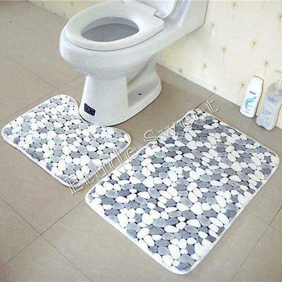 2PCS Set Soft Cotton Bath Pedestal Mat Toilet Non Slip Washable Floor Rugs UK