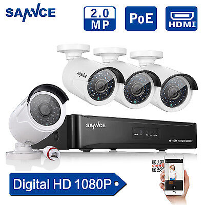 SANNCE 1080P HD 4CH P2P NVR PoE IP Network Camera Outdoor Home Security System