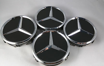 4 PC SET Mercedes Benz Wheel Center Caps Emblem Black and Silver Hubcaps 75MM