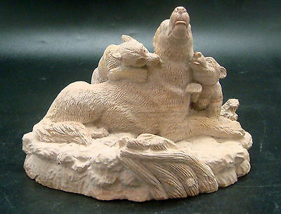 HAND-CRAFTED NATURAL PETRIFIED FOOD WOLF w/ 2 CUBS CARVING FIGURINE 4 HOME DECOR