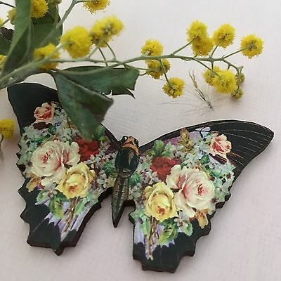 BROOCH NEW Butterfly Nature Jewellery laser cut wooden Badge handmade wood Pin