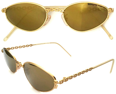 Christian Roth 1008 NEW Women Sunglasses Made Italy 1990s VINTAGE Gold Mirrored