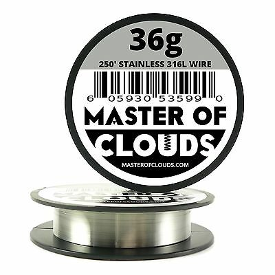 SS 316L - 250 ft. 36 Gauge AWG Stainless Steel Resistance Wire 0.13 mm 36g 250