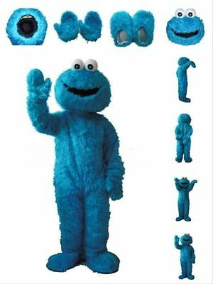 Blue Cookie Monster Cartoon Fancy Dress Mascot Costume Adult Suit Express