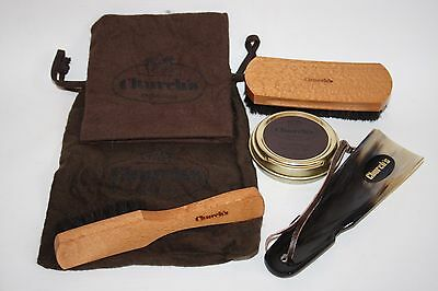 New Church's Luxury Shoe Polish Travel Set Natural Brush Cloth Horn Black Wax