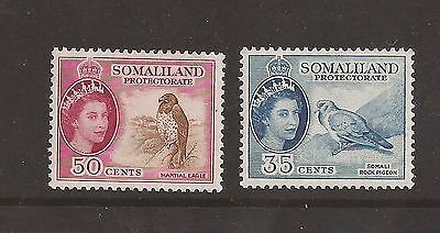 Somaliland Protectorate 1953 sg 142 & 143 lightly mounted mint