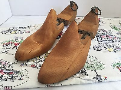Vintage Pair French Womens Wooden Shoe Trees UK 7 EU 41 Pointed - Quality