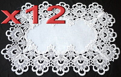12pc Wholesale Bulk Lots White Lace Table Doilies Placemat Vintage Wedding