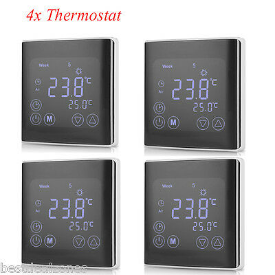 4x lcd digital thermostat fu bodenheizung. Black Bedroom Furniture Sets. Home Design Ideas