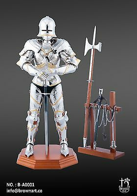 Brown Art FULL METAL Silver Gothic Armour Knight 1/6 Figure