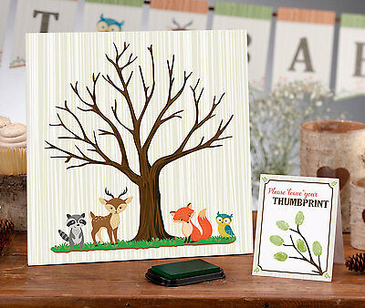 BABY SHOWER SIGNING TREE FINGERPRINT THUMBPRINT CANVAS guest book Woodland