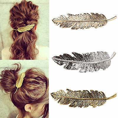 Leaf Feather Hair Pin Jewelry Women Lady Vintage Hair Clip Barrette Bobby Pins