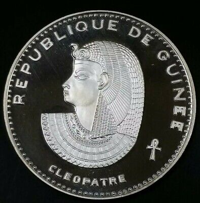 1970- 500 Francs, Proof Cleopatra Guinea Republic Cleopatra .999 Silver 29.08 Gm
