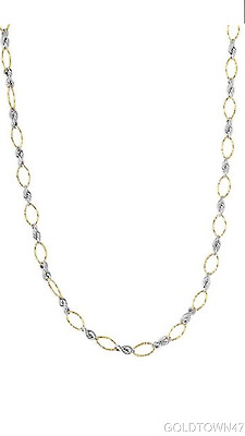 14kt Yellow+White Gold  Alternate Yellow Twisted Oval+White Hollow Rope Set