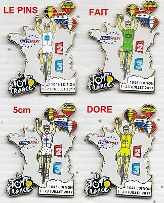 pins SERIE DE 4 PIN´S VELO, TOUR DE FRANCE 2017 FINITION DORE ATTENTION CES PINS