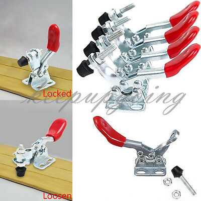 4 pcs Red Toggle Clamp GH-201A 201-A Quick Release Metal Horizontal Hand Tool
