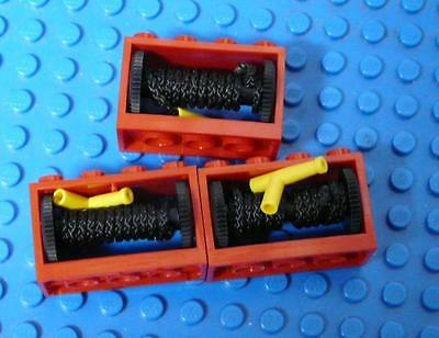 LEGO String Reel 2 x 4 x 2 Complete with String Yellow Hose Nozzle Red x3PC