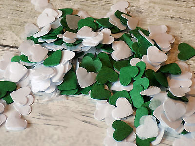 1000 vintage romantic tissue paper heart confetti white and Green wedding