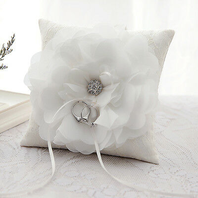Ivory Wedding Ceremony Lace Flower Jewel Crystal Ring Pillow Cushion