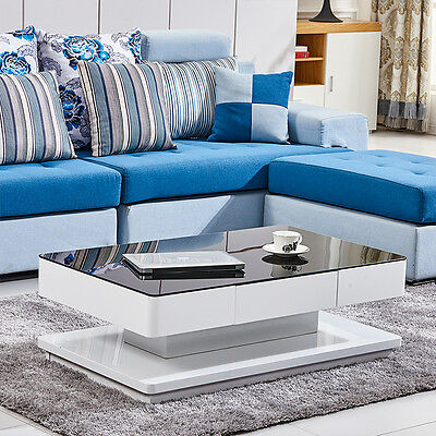 Modern White High Gloss Coffee Table, Black Tempered Glass Top Living Room