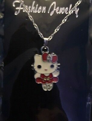 Hello Kitty Child's Necklace Red Dress Ballerina Small Clear Rhinestone