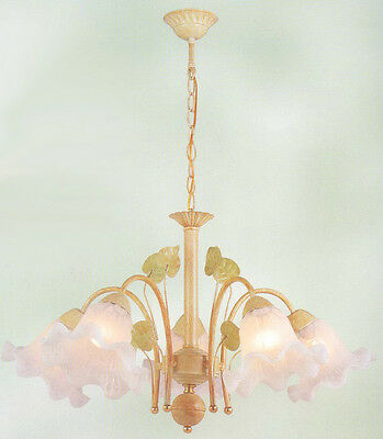Antique 5 Light French Victorian Chandelier Art Deco Ceiling Glass Swirled Shade