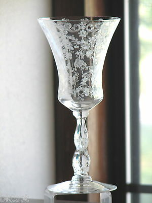 Cambridge Glass CHANTILLY Etch Sparkling Clear Tall Water Goblet - Excellent