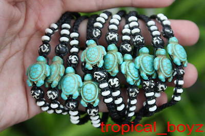 10 Handmade Blue Sea Turtle White Bone Beads Slip-Knotted Bracelets Wholesale