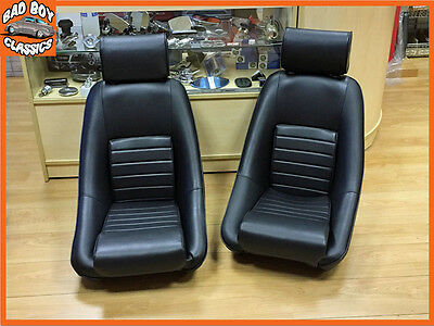 Pair BB1 RS Classic BLACK Sports Racing Bucket Seats For CLASSIC / KIT CAR