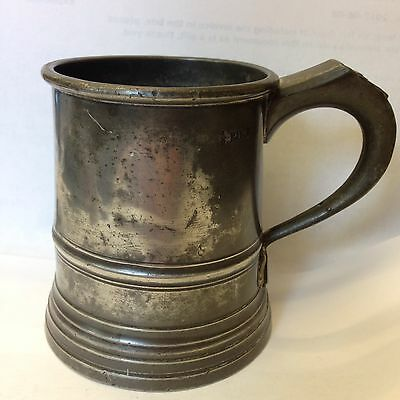 Antique Pewter 1/2 (half) Pint Tankard Measure . 8.5cm High