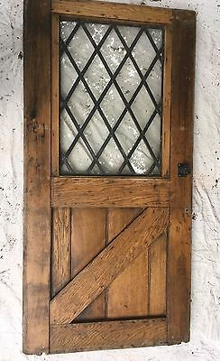 Solid Oak Frame Door with Leaded Glass  - various sizes windows also