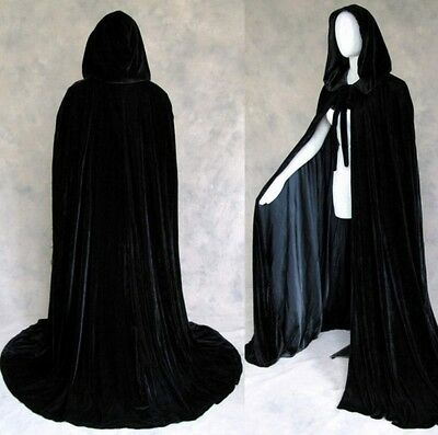 Hooded Velvet Cloak Halloween Costume Medieval Pagan Witch Dress Wicca Vampire L