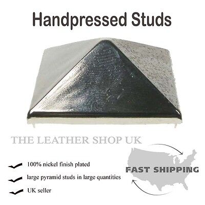 33mm Large Silver Pyramid Leather Clothing Metal Punk Rock Studs UK Seller